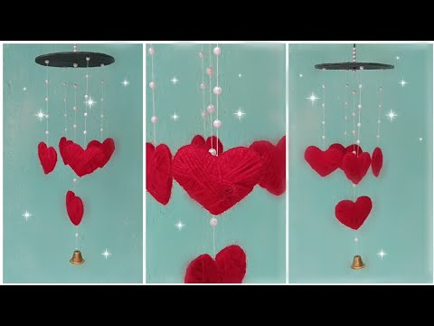 how to make wind chimes from waste materials. DIY wall hanging. heart wall hanging. Wind chimes DIY