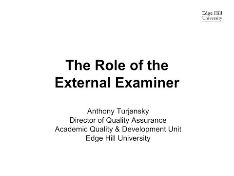 The Role of the External Examiner 2016