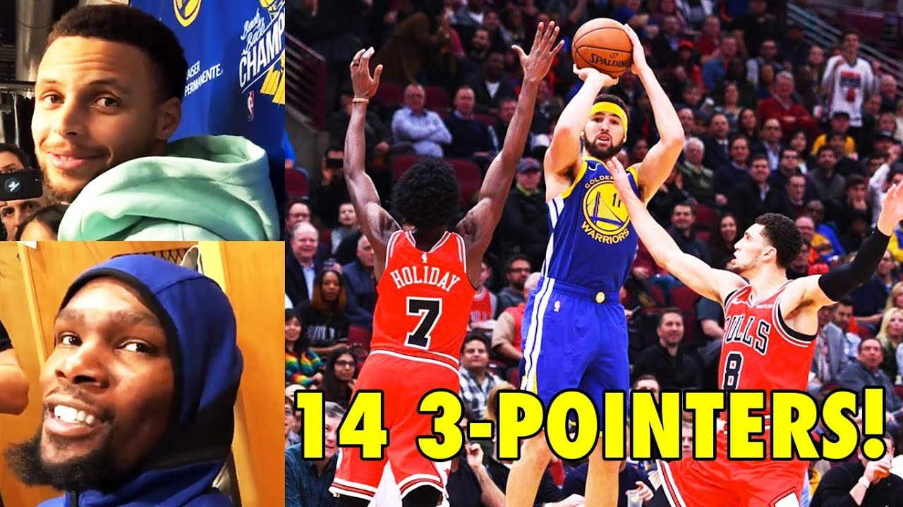 73aabcda40df Stephen Curry   Kevin Durant REACT to Klay Thompson s 14 3-Pointers NBA  Record