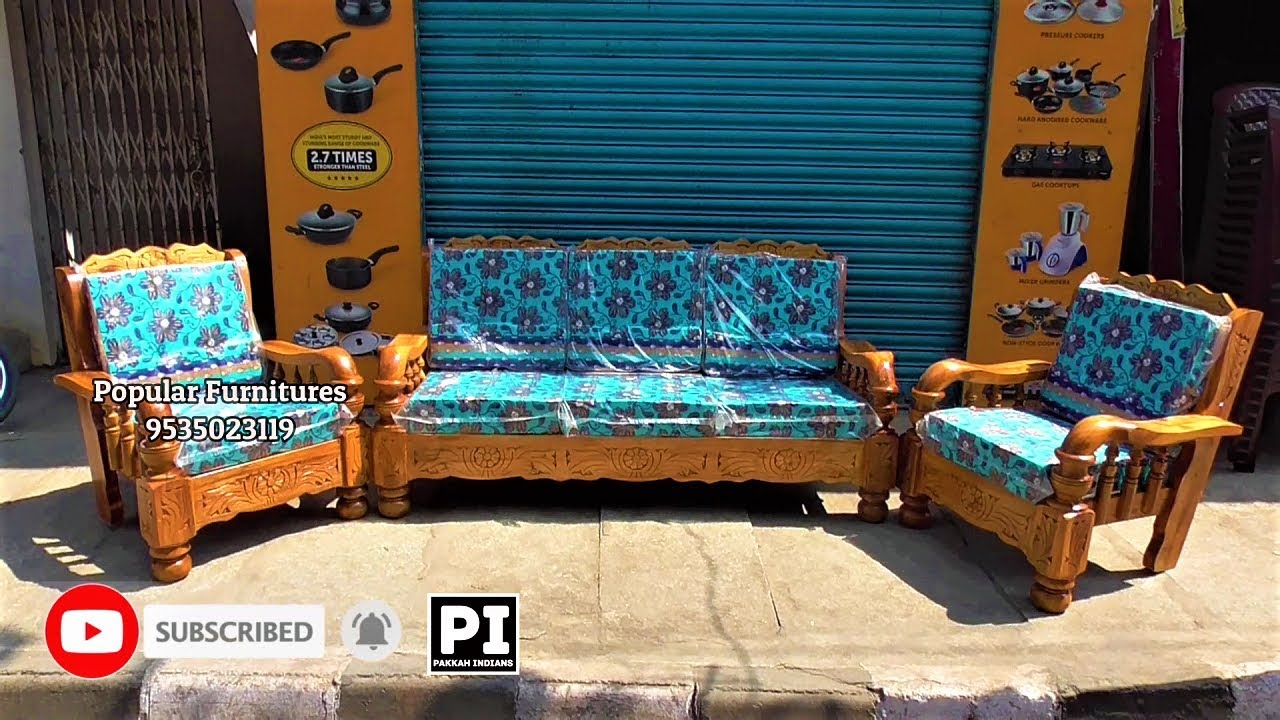Wooden Sofa Set And Cushion Cheap And Best 2 Models And Designs 2019 In Popular Furniture Bangalore - YouTube
