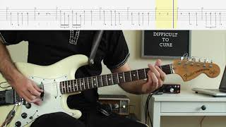 Deep Purple/Rainbow - Difficult to Cure/Beethoven Guitar LESSON WITH FREE TAB
