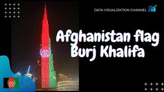 Afghanistan flag 🇦🇫lights up on World's tallest building Burj Khalifa in Independence day, Dubai UAE