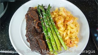 Shrimp Mac & Cheese, Honey Ribs (Crockpot), Garlic Parmesan Asparagus | Quana