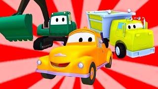 Çekici Tom ve Devriye Aracı, Kazma makinesi, beton kamyon  Araba ve Kamyon inşaat çizgi filmi 🚚