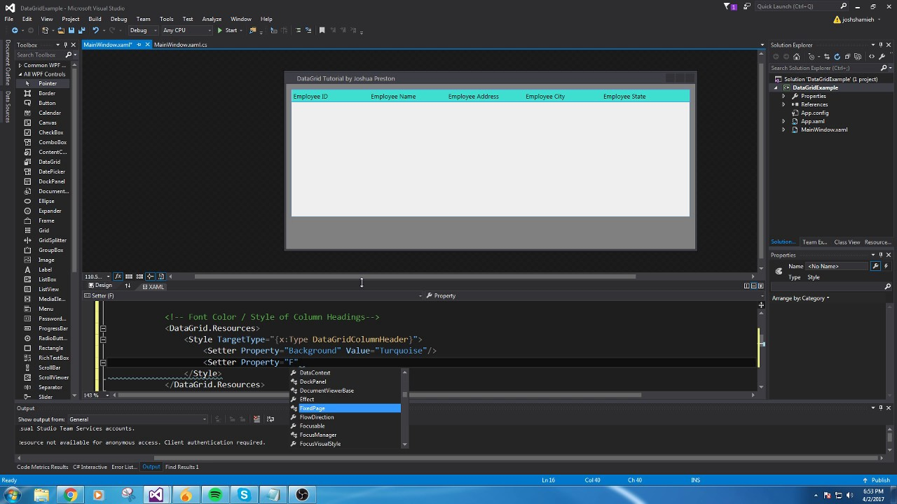 An EASY tutorial for Creating your first DataGrid in C# using WPF ...