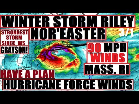 *WOW* 90 MPH Winds BOMB Cyclone NOR'EASTER & WINTER STORM RILEY At ONCE!