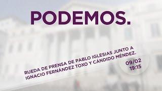 Rueda de prensa de Pablo Iglesias junto a Ignacio Fernández Toxo y Cándido Méndez