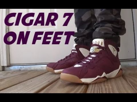 Air Jordan 7 Cigar Championship Shoes On Feet With & Without Ring