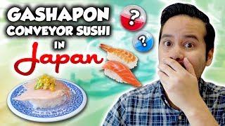 Gashapon conveyor belt sushi in Japan! Kura Sushi capsule toy adventure in Ikebukuro