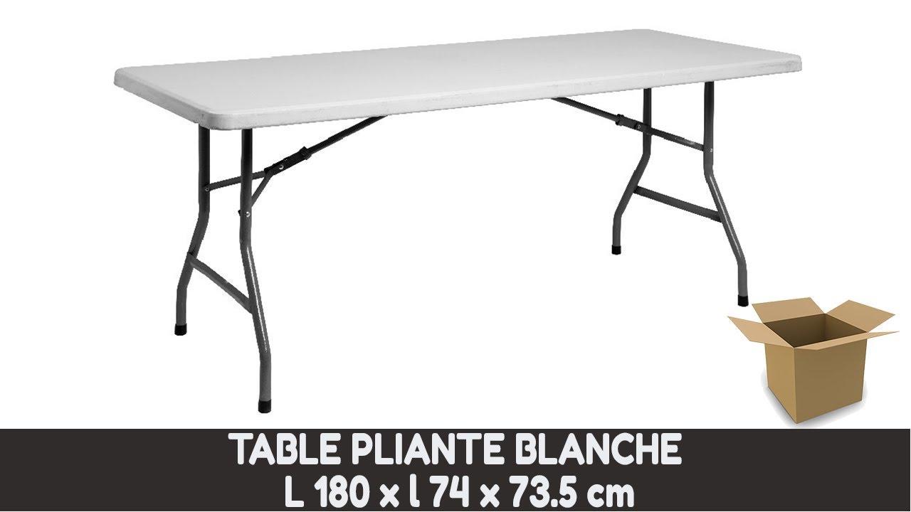 Deballage Table Pliante Rectangulaire Blanche En Resine L180 X L74 X H73 5 Cm Youtube