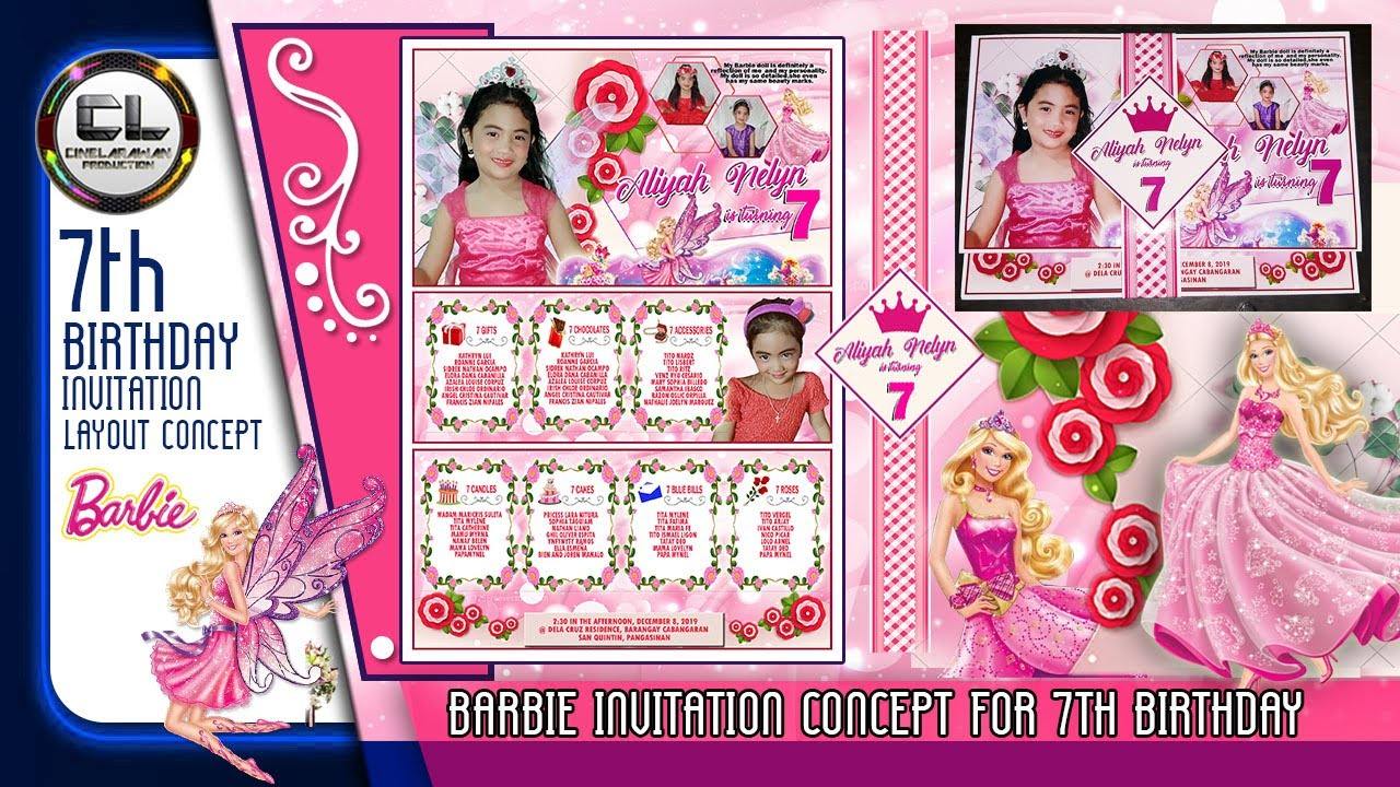 diy barbie invitation layout for 7th birthday cinelarawan production