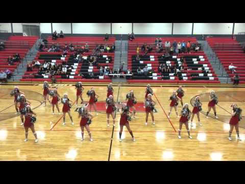 Hurricane High Cheer Basketball performance Rockin Around the Christmas Tree 2014