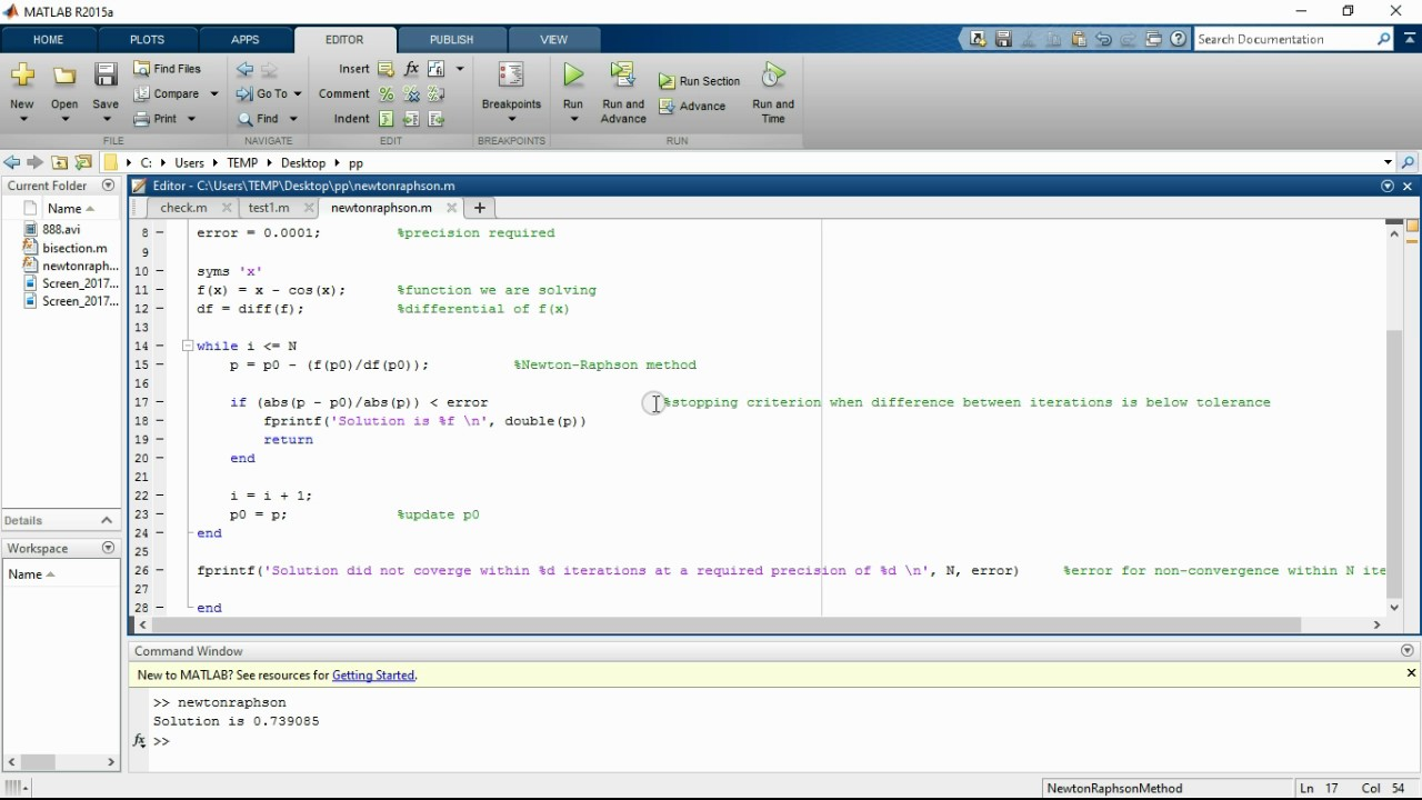 newton raphson method matlab code
