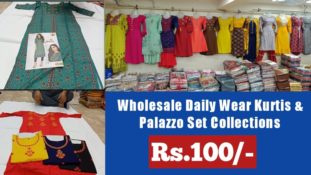 Hyderabad Wholesale All Varieties of Exclusive Kurtis @100/- and Palazzo set Collections