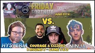 Hysteria | Friday Fortnite Champions with Ninja - CLOSE CALLS - vs. CouRage and Cizzorz
