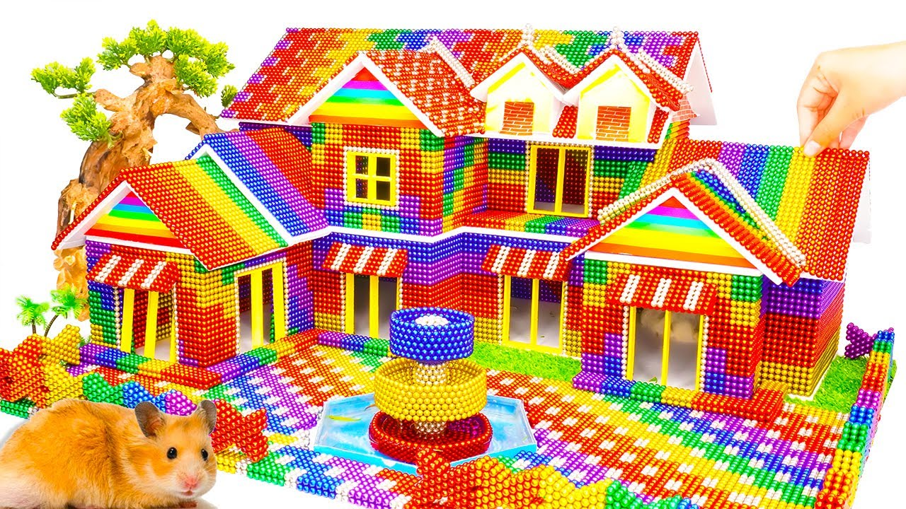 DIY - Build Mega Villa House Has Garden, Fountain For Hamster With Magnetic Balls (Satisfying)