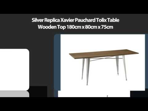 Silver Replica Xavier Pauchard Tolix Table Wooden Top 180cm x 80cm x 75cm