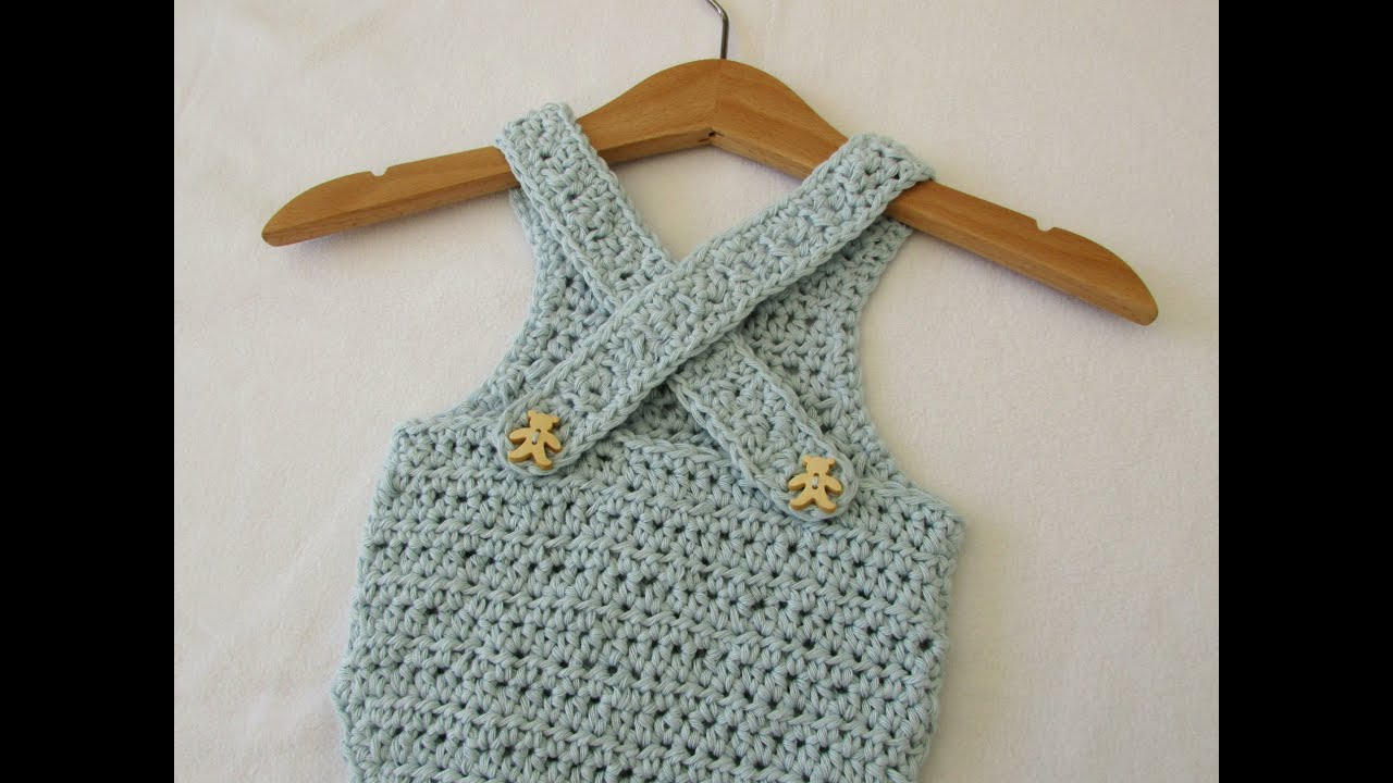 VERY EASY crochet cross back baby romper / onesie tutorial - YouTube