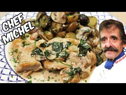 poulet-sauce-champignons-crémeuse-à-l'ail