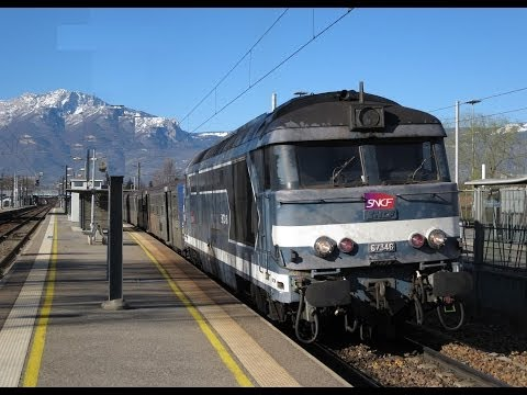 France: SNCF Class BB 67300 diesel locos on passenger trains on the Chambery-Grenoble-Valence line