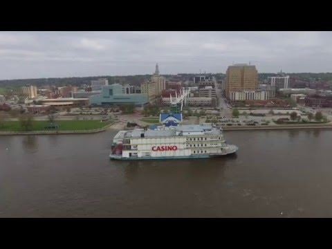Downtown Davenport Iowa Mississippi River Front (Drone)
