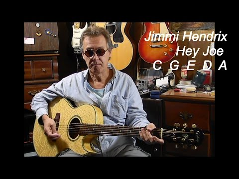 Beginners - How to Play Jimi Hendrix HEY JOE - Easy Guitar Lessons - Easy Songs on Acoustic Guitar