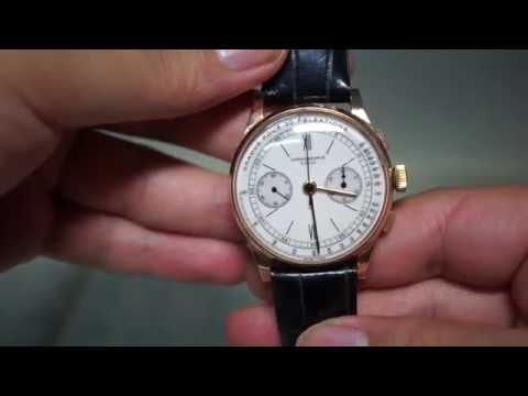 chronographe suisse 1950s vintage hand winding watch (18k 로즈골드 케이스 빈티지 수동 손목시계)