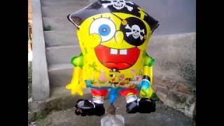 balon mainan anak   belajar sendiri mengisi gas pada balon karakter spongebob