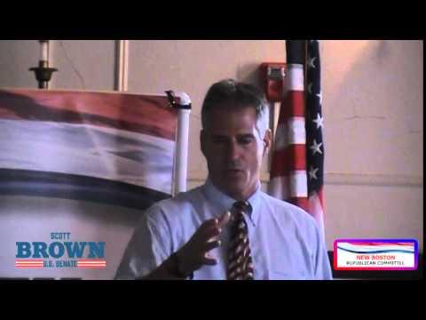 Senator Scott Brown speaks in New Boston with Voters