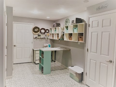 Diy craft table and craft room reveal