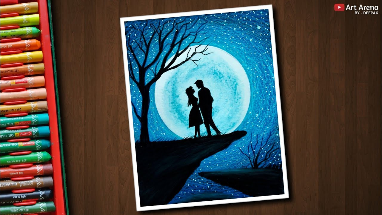 Couple Moonlight scenery drawing with Oil Pastels step