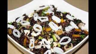 Салат с рисом и кальмарами. Бурый рис. Салат без майонеза. Моя Dolce vita