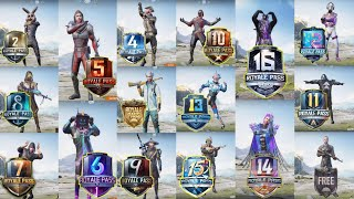 PUBG MOBILE ALL SEASON ROYAL PASS SEASON 1 TO SEASON 16 ROYAL PASS REWARD SEASON 1 TO 16 ROYAL PASS