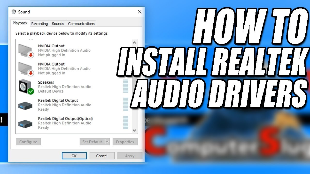 I ACCIDENTALLY DELETED REALTEK AUDIO DRIVERS
