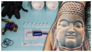 Buddha Portrait | Realism Hand Tattoo by Elias Mora Arte