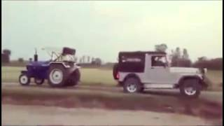 New Mahindra Thar vs Tractor tow-chain match !!