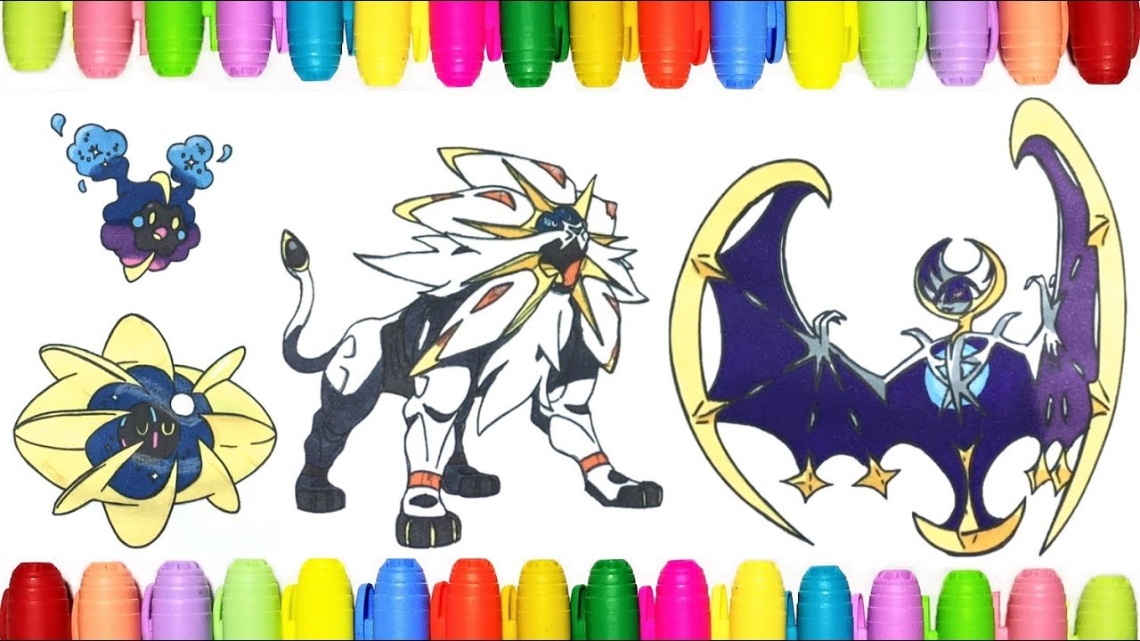 Pokemon Coloring Pages Cosmog Cosmoem Solgaleo Lunala Youtube
