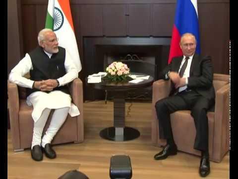 PM Modi meets Russian President Vladimir Putin for an informal summit in Sochi, Russia : 21.05.2018