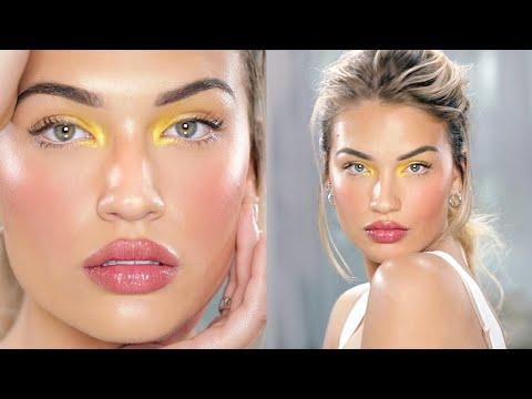 Glowing Skin + Pop of Color Makeup Tutorial - YouTube