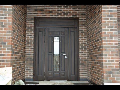 Уличная металлическая дверь с ТЕРМОРАЗРЫВОМ со стеклом и ковкой ЯГУАР!
