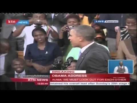 President Obama greets Kenyans in 'Swahili' and jokes on being first Kenyan President of US