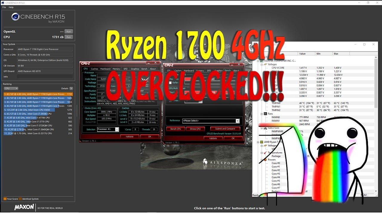 AMD Ryzen 1700 Overclocked 4GHz Cinebench R15 and CPU-Z Bench