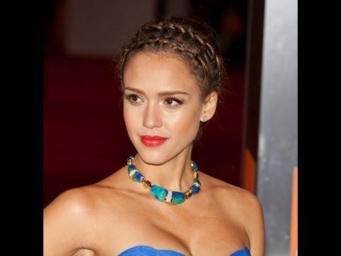 Jessica Alba Braided Updo Double French Braids