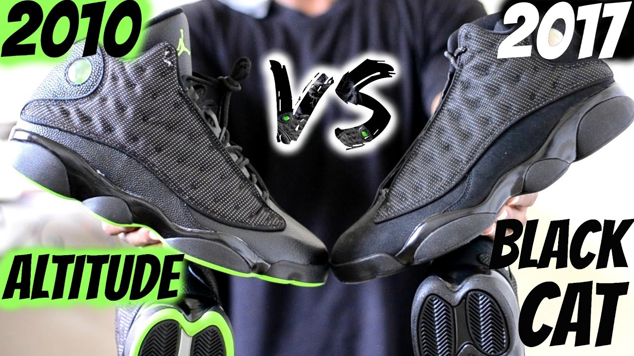 ac8f03456e5b2a 2010 Altitude vs. 2017 Black Cat Jordan 13 Comparison   Which 1 do you  choose  Suede or Leather  - YouTube