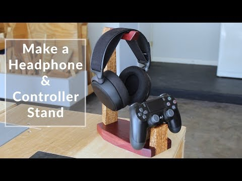 Make a Wooden Headphone Stand & PS4 Controller Stand with Dovetails