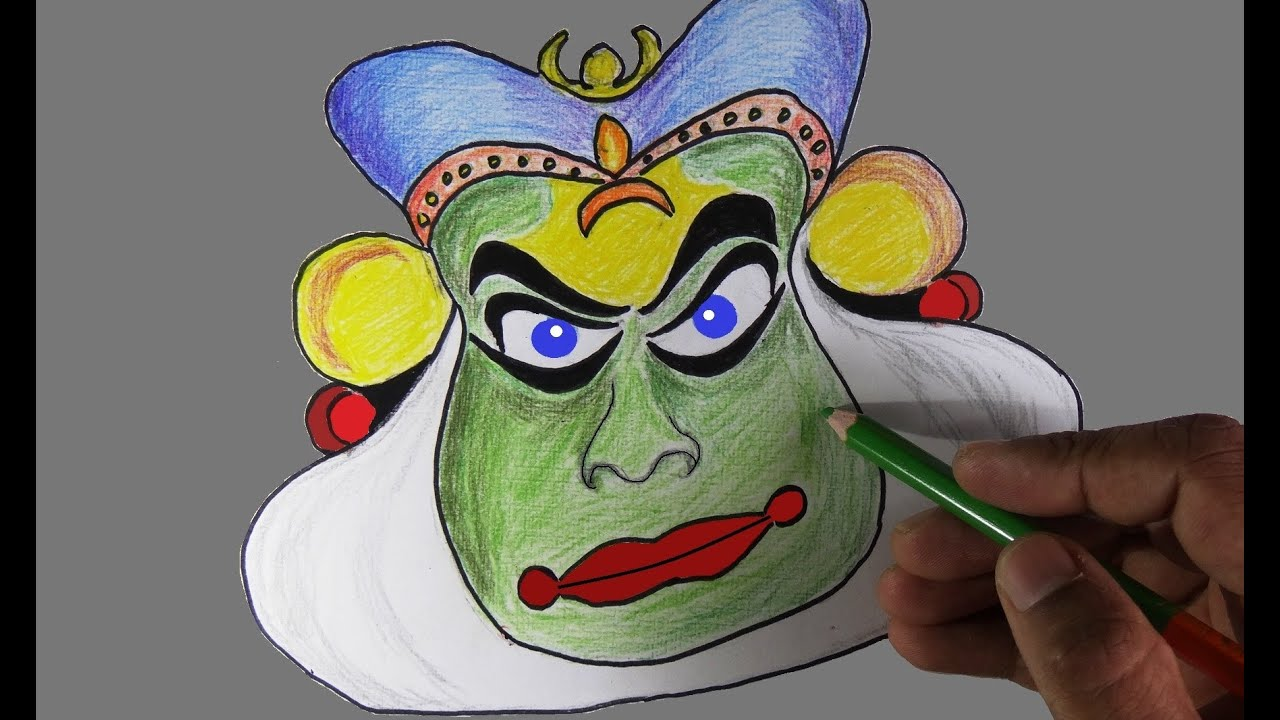 How to draw a kathakali face in kerala style