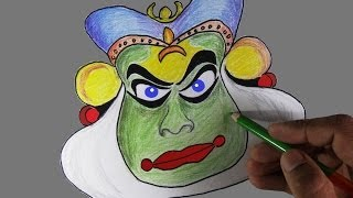 How to draw a kathakali face - In Kerala style