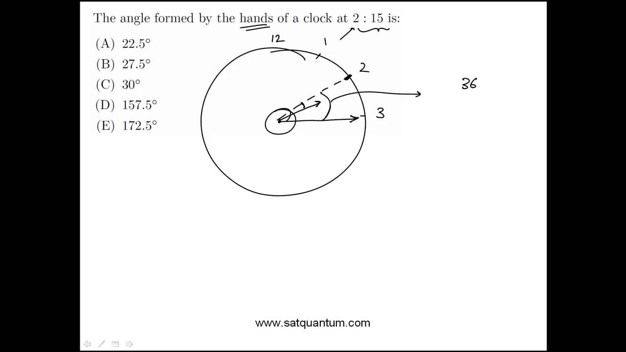 Clocks, circles, arcs, and angles: SAT Math Practice Question
