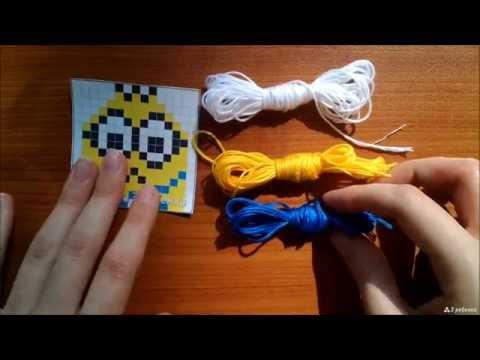 Как плести многоцветные фенечки прямым плетением (более 2 цветов)