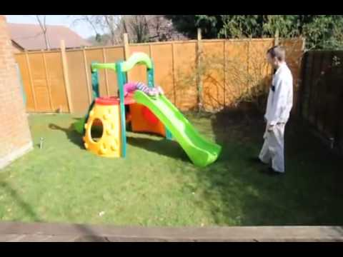 Sliding Fun On Little Tikes Slide   Climbing Frame